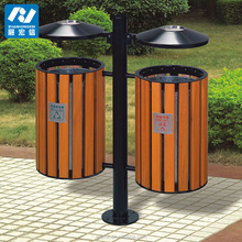 wooden outdoor waste bin street trash can steel trash bin with ashtrays