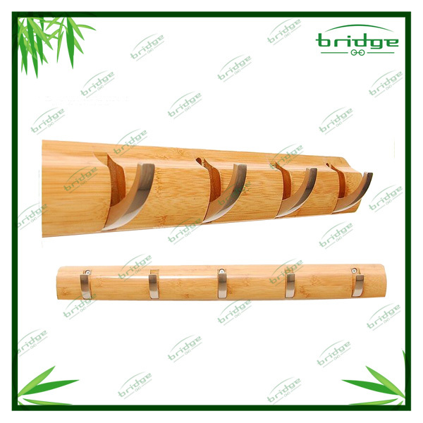 New design Bamboo wall coat hanger with 4 hooks