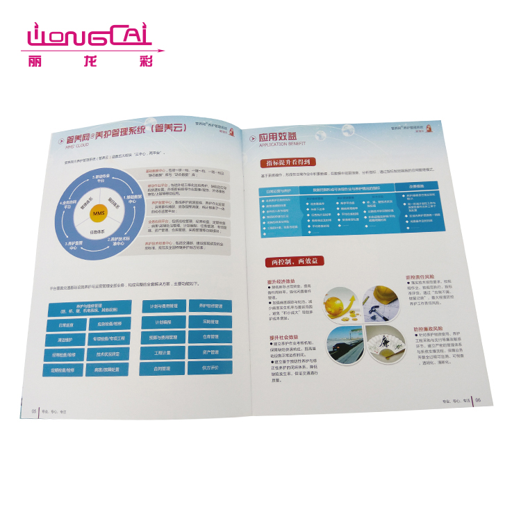 Cheap softcover full color matte lamination saddle stitching brochure printing