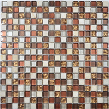 Glass Mosaic 15x15mm Wall Usage Crystal Net Mounted