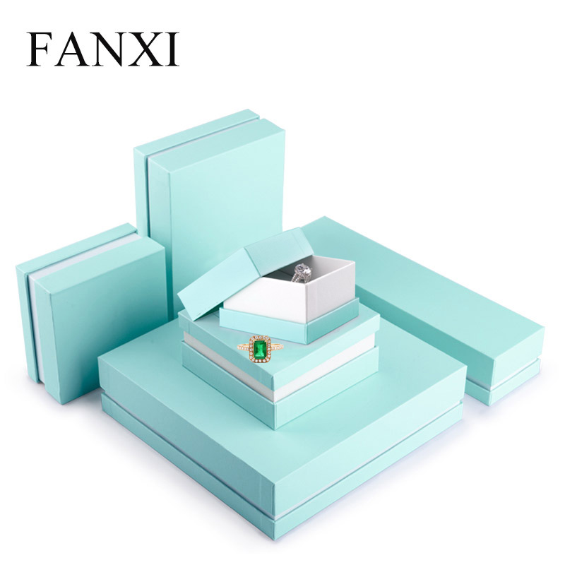 FANXI Custom Logo Printed Packing Cardboard Gift Boxes Necklace Ring Bracelet Teal Jewelry Paper Box