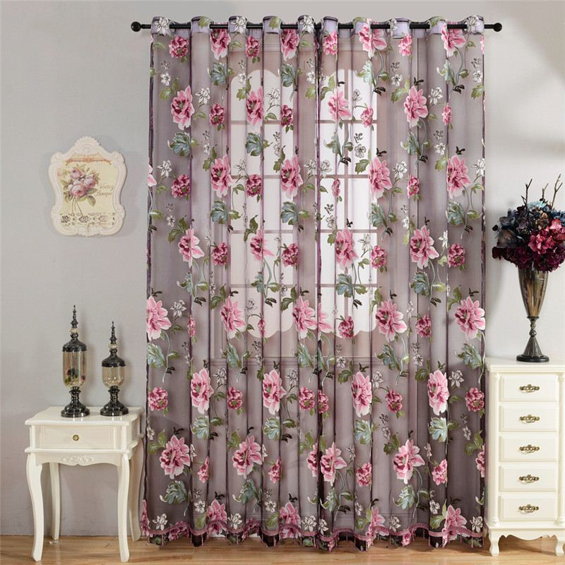 Top Finel Purple Tulle for Windows Luury Sheer Curtains for Kitchen Living Room The Bedroom Window Treatments Panel Draperies