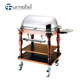 C137 Luxury Double Layers Stainless Steel Roast Beef Tool Drink Serving Trolley Cart