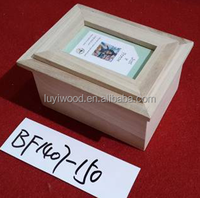 new designed environmental unfinished wooden box with photo frame lid wholesale