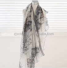 Fashion Custom World Map Design Voile Scarf