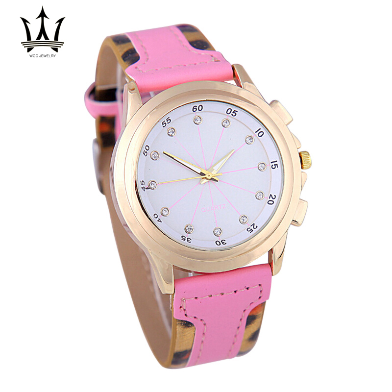 Women Watches 2015 Rose Gold Dial Wrist Watches For Women Casual Rhinestone Leather Strap Quartz Ladies Watch Dress Waterproof