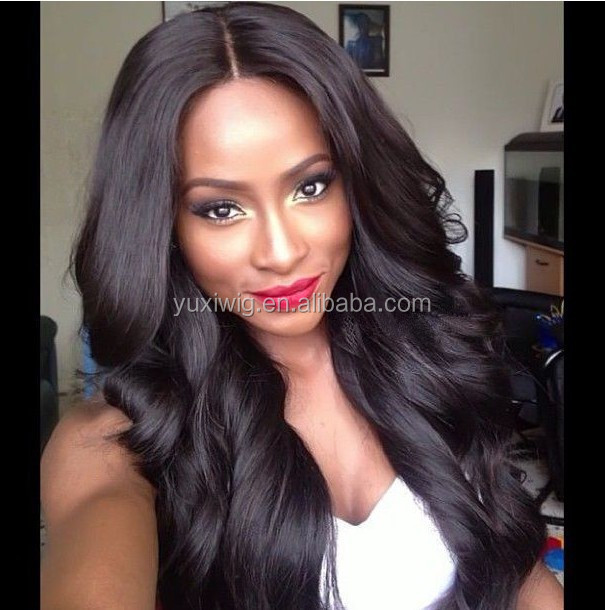 2017 New hair style body wave middle part brazilian virgin human hair full lace wig