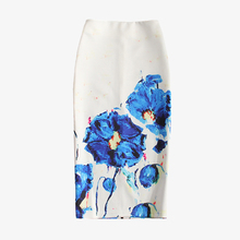 China wholesale Woman Floral Print Invisible Zipper Slim Fit white Pencil Skirt
