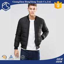 Hongxiong oem mens round neck feather inside down warm zip up blank black air conditioned jacket
