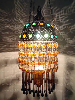 CUSTOM Unique Bedouin Beaded Lamp Shade / Chandelier