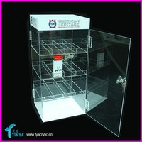 Customized China Suppliers Wholesale E-cig Display Rack 3 Shelves Acrylic E-juice Store Cigarette Case
