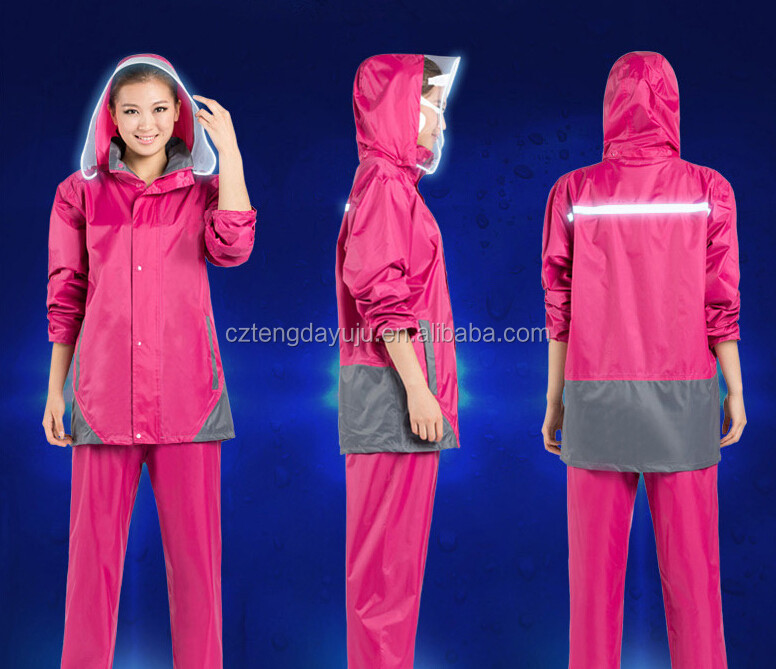 reflective motorcycle men and women polyester pvc rainwear