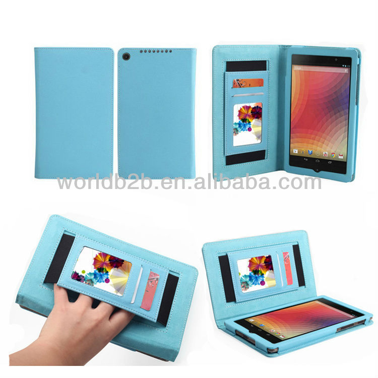 2013 Newest Book Style Wallet Leather Phone Case for Google Nexus 7 2nd Gen, with Elastic band & Card Slots