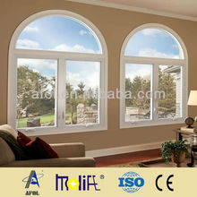 Low-E Glass Arch Top Fixed Laminate Film PVC Window