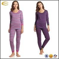 Ecoach 2016 women custom slim fit striped 100%cotton pajamas sets round neck pull on XXXL sleepwear with ribbed ankle cuffs