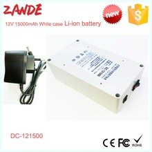 Factory supply DC-121500 White 15000mAh 12V 1-10A Polymer Li-ion battery rechargeable for battery powered camping heater