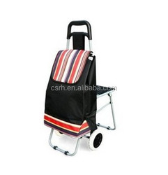 RH-FT05 With Chair Shopping Hand Cart Folding Shopping Trolley Bag With 2 Wheels