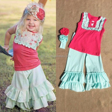 kL-OF-042 wholesale children's boutique clothing new spring high quality cotton ruffle outfit