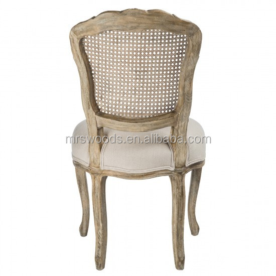 French Wooden Rattan Back Louis Chair Casual French Rattan