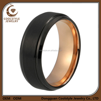 Rose Gold Finger Ring Black Plated