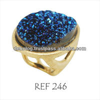 GOLD PLATED RING with natural stone