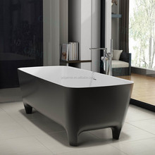 2017 High quality low price pure acrylic solid surface stone corner bath tub