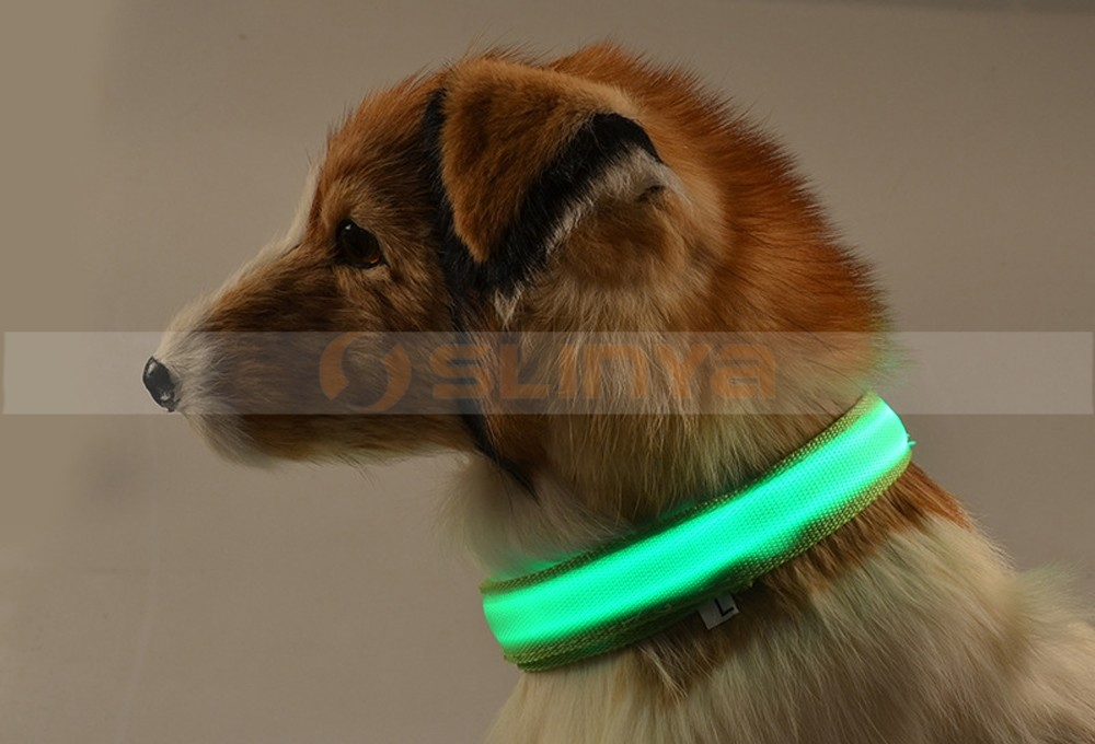 Nylon Safety Harness Collar Glowing Dog Necklace Flashing Light-Emitting Puppy Leash