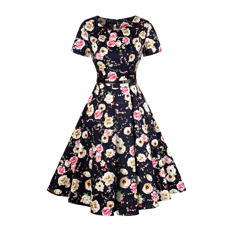 2017 Stylish Design Latest Women Casual One Piece Dress In Floral Print Cotton One Piece Dress