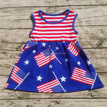 wholesale 4th of July girls flag print dresses lovely independence day children fashion dress patriotic dress