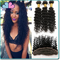 Indian Virgin Hair Deep Curly Lace Closure With Bundles Unprocessed Human Hair Weave Extension
