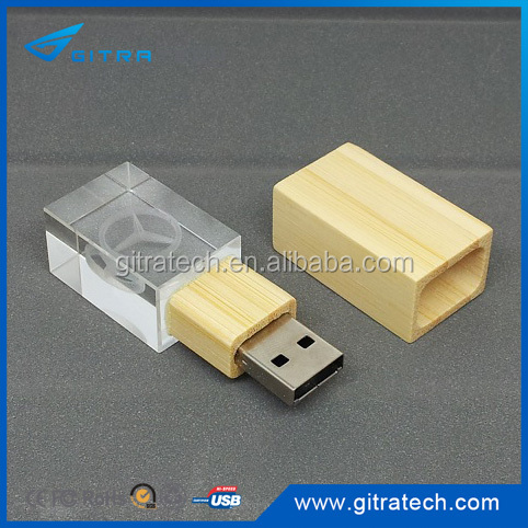Wooden Bamboo Crystal USB Metal Hollow Out USB Metal Plating Drawing U disk Inside Carving Logo