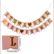 Amazon Baby Shower Party Decoration Pink with Gold Foil Letters Flag Its A Girl Hanging Banner