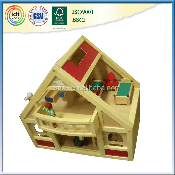 Your new play wooden doll house,toy model with ICTI