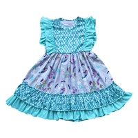 Latest style summer new fashion baby girl dresses wholesale teenager girl prints cotton knee length dress