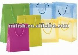 Single color printed transparent plastic shopping bag