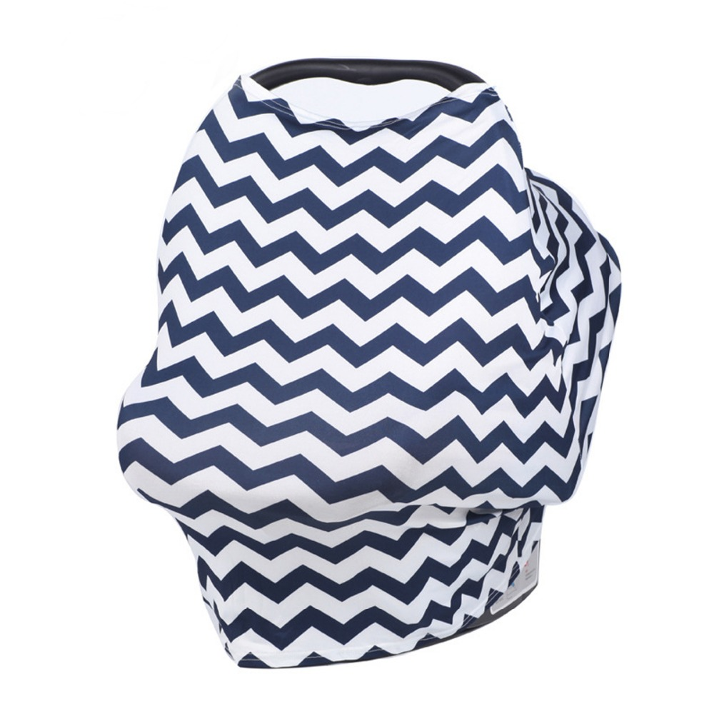 Multiuse Stretch Baby Carseat CoverBboy Blue Chevron Canopy
