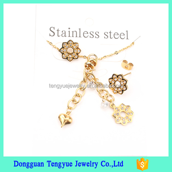 Factory Wholesale Stainless Steel Fashion Jewelry Gold Necklace Earring Set