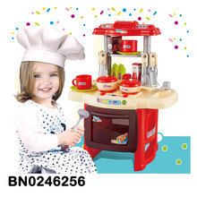 Cute funny real kitchen children cooking play set with foods and music light functions