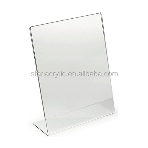 Clear Acrylic Slant Back Picture Frame Acrylic Slanted Sign Holders, 3 Pack Side Loading