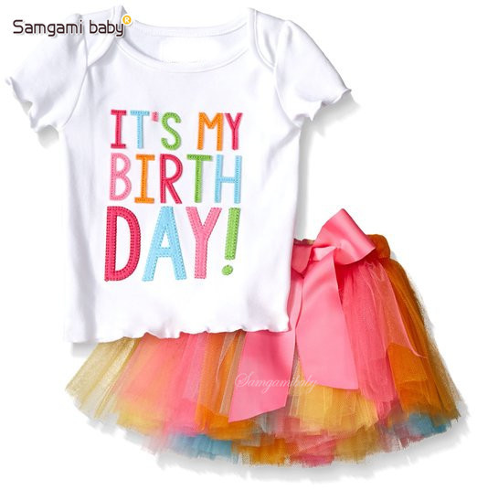 Ins hot selling fashion children summer clothes sets baby girl birthday t-shirt with tutu skirts two piece sets kids clothes set