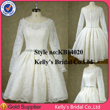 Beautiful lace boat neckline tea length wedding dresses long sleeves