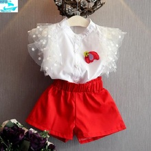 SE040 Summer Ruffle Top + Short Pants Korean Fashion Kids Girls Clothing Sets