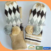 custom logo cheap wholesale knit mittens /winter mittens for adults