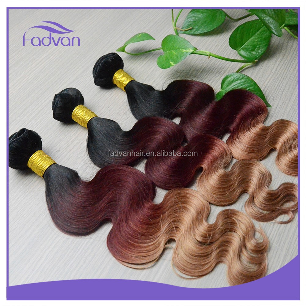Best Selling Hair Weave Colored Three Tone Virgin Malaysian Weft Hair Extensions