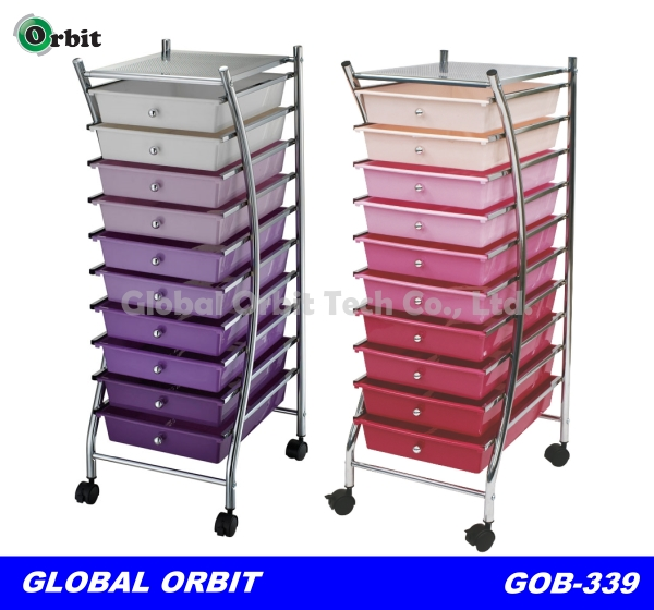 Colorful 4 Tier Plastic Storage Trolley With Drawers Space