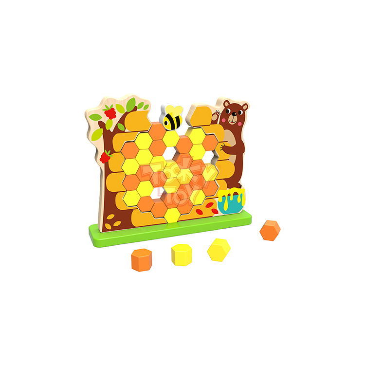 Educational Colorful Wooden Pick a Brick - Honeycomb Stack Toy
