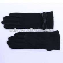 good quality suede lady gloves with vara bow with black color