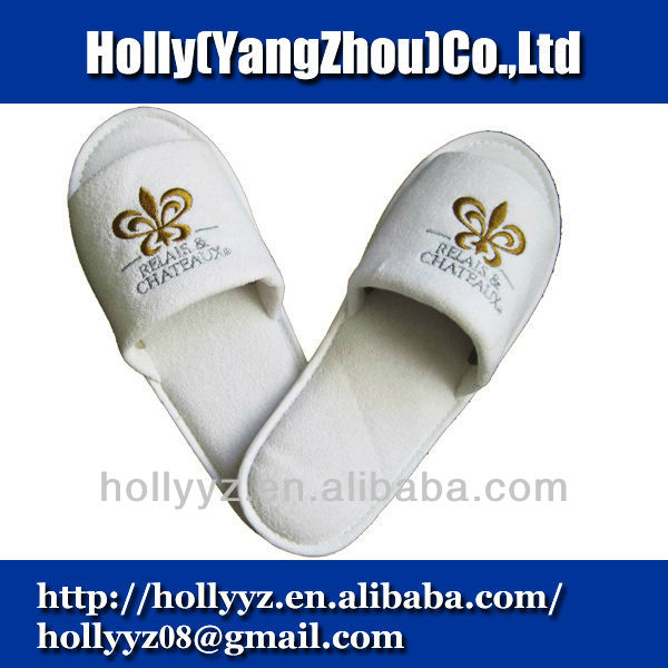 Cotton open toe anti slip slippers for hotel
