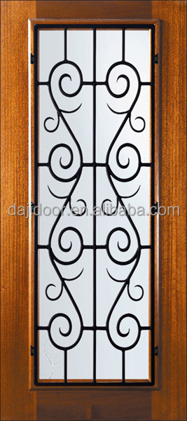 Wooden Wrought Iron Grille Interior Doors Design DJ-S5200MW-6