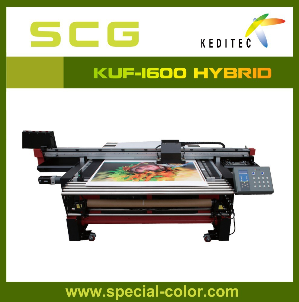 KUF-1600 UV flatbed and roll to toll printer.glass,metal,foam board.acrylie,PVC,PET for lightbox